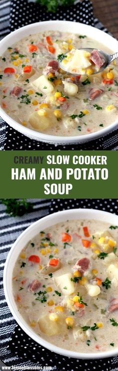 This Slow Cooker Ham and Potato Soup is hearty creamy and delicious Loaded with ham potatoes and veggies in a rich and tasty broth Minimal prep dump and go easy crock po. Cooking Ham In Crockpot, Crock Pot Slow Cooker, Pressure Cooker Recipes, Crockpot Recipes, Cooking Recipes, Cooking Pasta, Cooking Steak, Cooking Salmon, Chowder Recipes