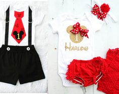 Mickey Mouse & Minnie Mouse Baby Boy and Baby Girl Twins Birthday Outfits.  Tie Suspenders Bodysuit and Black Shorts SET.  Personalized SET