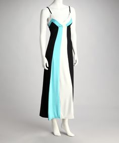 $18.99  Take a look at this Blue & Black Color Block Surplice Maxi Dress by Ami Sanzuri on #zulily today!
