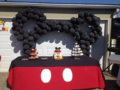 Mickey Mouse themed birthday party. Main table