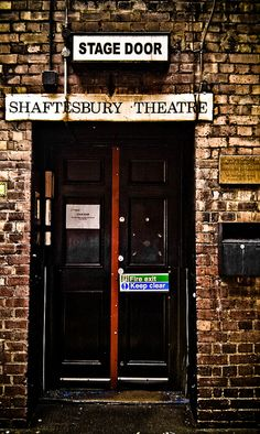 Stage Door at the Shaftsbury Theatre, London