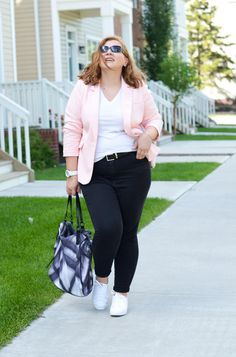 Pastel Blazer and White Sneakers, Addition Elle, White sneakers, Burberry bag, casual outfit, plus size, curvy fashion blogger for women over 35
