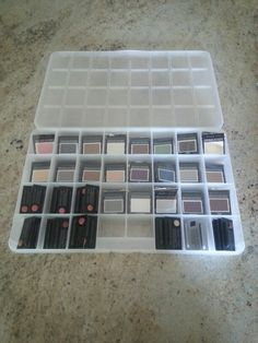 Crafting organizer repurposed for Mary Kay eyeshadow and lip samples