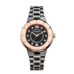 Relógio feminino de cerâmica preta e aro rosé http://m.hstern.com.br/relogio/feminino/sports-luxury/RS9AC204036