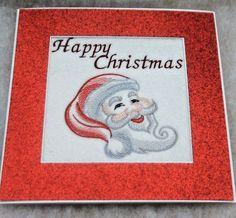handmade embroidered Christmas Card Santa Happy Christmas  ex large card