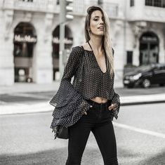 Women Black Plunging Polka Dot Layered Sleeve Ruffle Sexy Blouse - S Bell Sleeve Blouse, V Neck Blouse, Sheer Blouse, Bell Sleeves, Black Women Fashion, Look Fashion, Fashion Outfits, Womens Fashion, Latest Fashion