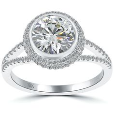 2.41 Carat H-VS2  Natural Round Diamond Engagement Ring 18k White Gold Pave Halo