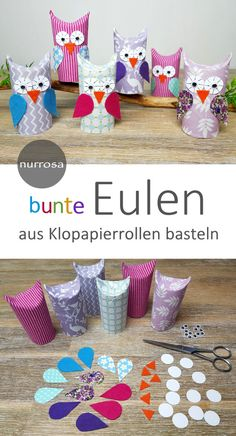 Tinker owls from toilet paper rolls A nice craft idea for .- Tinker owls from toilet paper rolls A nice craft idea for children Fun Arts And Crafts, Crafts For Girls, Diy For Kids, Kids Crafts, Diy And Crafts, Wood Crafts, Craft Activities, Preschool Crafts, Easter Garland
