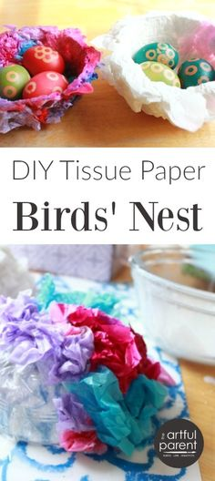 A simple birds nest craft to make out of colored tissue paper. This is a fun and easy spring or Easter craft for kids and doubles as a fun decoration.