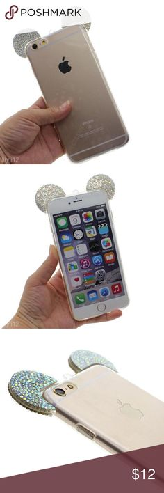 Rhinestone Mickey Mouse Case ✨TPU silicone case rhinestone Mickey Mouse ears cover for Iphone 6/6S. Clear. Also available with pink ears. ✨ Accessories Phone Cases