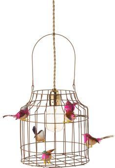 Hanglamp kinderkamer roze met vogeltjes nét echt ! Maar 119,95 ?? .... Zelf maken dan! Interior Ideas, Home Decor Ideas