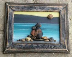 "Pebble Art, Rock Art, Pebble Art Couple, Rock Art  Couple, beach, lake, vacation, engagement, anniversary, 5x7 ""open"" frame (FREE SHIPPING)"
