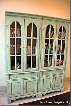 Painting bookcases with Miss Mustard Seed Luckett's Green paint. Revive and update!