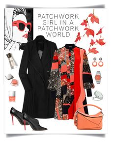"""Roberto Cavalli Patchwork Mini Dress Look"" by romaboots-1 ❤ liked on Polyvore featuring Oliver Gal Artist Co., Burberry, Alexander McQueen, Roberto Cavalli, Malone Souliers, Loewe, Butter London, Nixon and Miss Selfridge"