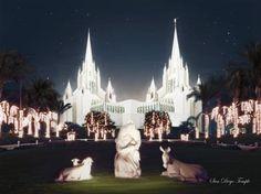 San Diego Temple (Christmas) by Brent Borup