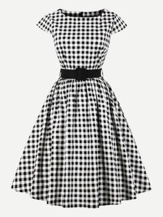Buy Plus Size Women Clothing Summer Retro Plaid Dress Female Rockabilly Party Dresses Vintage Tunic Vestidos online - Liketopclothing Gingham Dress, Plaid Dress, Belted Dress, Gingham Fabric, Cap Dress, Dress Up, Dress Clothes, Plus Size Skater Dress, Swing Dress With Pockets