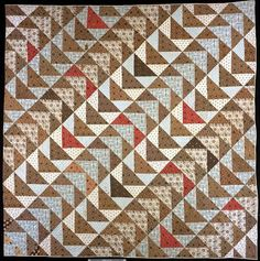 Bedquilt made by Sarah K. Headley, date-inscribed 1838, Bucks County, Pennsylvania. Collection of the International Quilt Study Center and Museum.  Barbara Brackman's MATERIAL CULTURE: More Strip Sets at an Angle