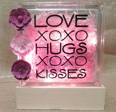 Hugs & Kisses Glass Block Craft Project - Omaha, Ne  http://mangelsens.com/projects/hugs-and-kisses-glass-block.php