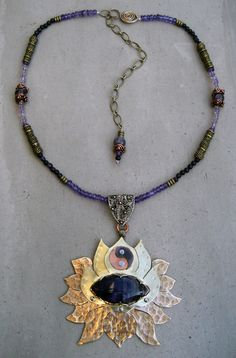 Crown Chakra Necklace, Amethyst, Lotus Flower, Spiritual Symbol, Handmade, Metalsmithed, Yoga Jewelry - MADE TO ORDER