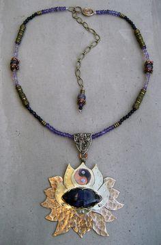 Crown Chakra Necklace, Amethyst, Lotus Flower, Spiritual Symbol, Handmade, Metalsmithed, Yoga Jewelry - MADE TO ORDER