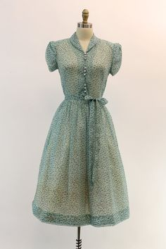 40s Lil Alice Dress XS / 1940s Atomic Print Sheer by CrushVintage