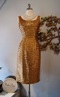 60s Dress / 60s Party Dress / Vintage 1960s Gold by xtabayvintage