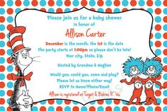 Custom Made Dr. Suess Baby Shower Invitation and by JessiesLetters