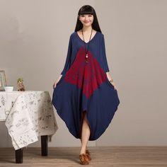 Bohochic mujeres de diseño Original nacional impresión nacional Vintage Mori chica adicional tamaño suelta OL del vestido del algodón AZ0042C Boho Chic(China (Mainland))