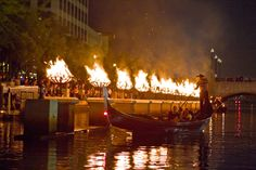 WaterFire Lighting - Gaspee Day - Photo by Michael Ippolito.