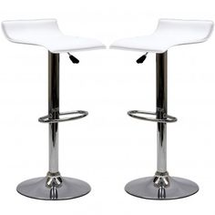 White Modern Gloria Bar Stools Set of 2 - Bars & Bar Stools - Dining Room