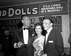 """Stewart Granger, his wife Jean Simmons, and Frank Sinatra... at the premiere of the movie ''Guys and Dolls"""", 1955 - which starred Simmons and Sinatra."""