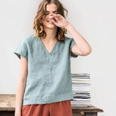 Etsy Linen top in V neck MALTA / Washed linen shirt / available in 34 colors