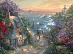 Thomas Kinkade The Village Lighthouse print for sale. Shop for Thomas Kinkade The Village Lighthouse painting and frame at discount price, ships in 24 hours. Cheap price prints end soon. Landscape Paintings, Art Thomas, Painting, Kinkade Paintings, Cottage Art, Art, Cross Paintings, Pictures, Thomas Kinkade Disney