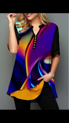 Stand Collar Color Block Button Mid-Length Half Sleeve Blouse - New In Tops Trendy Tops For Women, Stylish Tops, Blouses For Women, Women's Blouses, Formal Blouses, Vetement Fashion, Blouse Online, Plus Size Blouses, Printed Blouse