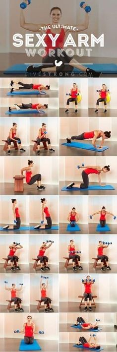 Research indicates arm exercises can actually help reduce muscle pain in your neck and traps. With these moves, you'll sculpt and define your arms, reduce excess fat, and get stronger and healthier. Click through for the sexy arm workout. by evelyn