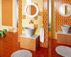 Tile Bathroom, Orange Modern Bathroom Full Refurbishment Cool Art Ideas Interior And Awesome Design Of Bathroom Orange Ceramic Design Awesome And Pretty Beautiful Interesting Awesome Good Looking Cool ~ Cool Design Of Cheap Bathroom Tile Ideas For Decorating The Beautiful Bathroom