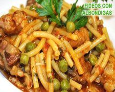 fideos a la cazuela con albóndigas y alcachofas Puerto Rican Recipes, Veggie Recipes, Mexican Food Recipes, Dinner Recipes, Cooking Recipes, Latin Food, Spanish Food, Easy Meals, Food And Drink