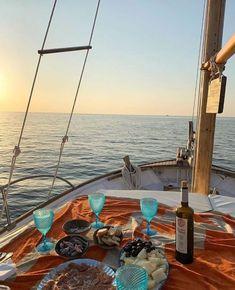sunset, aesthetic, boat, water, ocean, beach, wine, food, lifestyle Summer Aesthetic, Travel Aesthetic, Cruise Italy, Nature Landscape, Estilo Blogger, Italian Summer, Boat Rental, Mamma Mia, Summer Dream