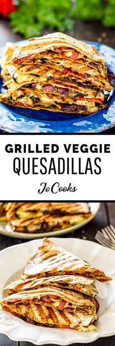 Grilled Vegetable Quesadillas with fresh mozzarella cheese and pesto - using fresh ingredients found at your local market, these quesadillas are perfect. Veggie Recipes, Mexican Food Recipes, Vegetarian Recipes, Dinner Recipes, Cooking Recipes, Healthy Recipes, Ethnic Recipes, Vegetarian Mexican, Vegetarian Grilling