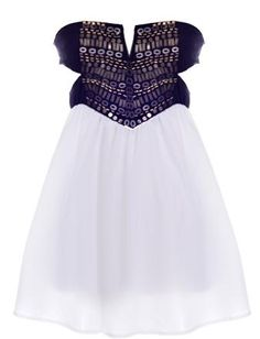 Warrior Princess Dress: Features a cleverly cut strapless bodice covered in hundreds of shiny trinkets, sexy side cutouts, elegantly gathered white chiffon skirt, and a centered back zip closure to finish.