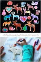 """hot salt dough ornaments, """"colored"""" with crayons"""