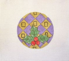 Holly & Berries w/Purple & Gold Blocks Handpainted Needlepoint Canvas #Unbranded