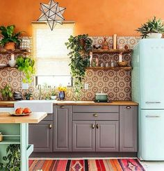 Kitchen | Colorful Ambient | Turquoise Fridge | Geometric Pendant Light | Grey Cupboards | Open Shelves | Orange - #Ambient #Colorful #cupboards #fridge #Geometric #Grey #Kitchen #Light #Open #Orange #Pendant #shelves #Turquoise Colorful Kitchen Cabinets, Cute Kitchen, Kitchen Ideas, Kitchen Design, Kitchen Decor, Moroccan Kitchen, Bohemian Kitchen, Bohemian House, Purple Cabinets