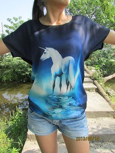Unicorn tshirt 3d printing batwing top for women or girls by LFsee, $17.90
