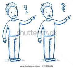 Cute little boy pointing, in two emotions happy and amazed. Hand drawn cartoon doodle vector illustration.