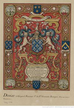 [Tapisserie à fond orné sur laquelle est peint le blason d'un chevalier de Saint-Michel] : [dessin]   Gallica