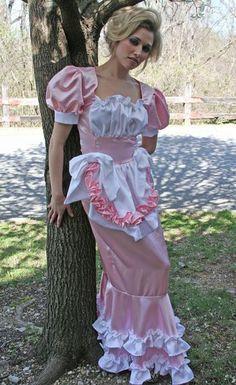 Pink Satin Swiss Maid Long Hobble Dress Sissy Crossdresser Drag Queen Custom Siz   eBay