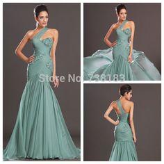 Free Shipping 2014 Sexy One-shoulder Sleeveless Chiffon Prom Evening Dress autumn Dress vestidos de fiesta Long evening Dress