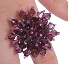 Party Ring in Amethyst - Tutorial by the Bead Doctor on Bead Barmy.