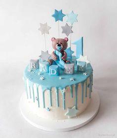 Image Birthday Cake, Baby First Birthday Cake, Boys 1st Birthday Cake, Happy Birthday, Baby Shower Cakes For Boys, Baby Boy Cakes, Gateau Baby Shower Garcon, Fondant Cake Designs, Cake Story